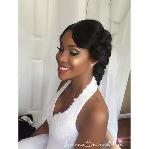 "Isn't she a GORGEOUS BRIDE!!!👰🏾😍😍😍 #LeannaSewardMua  💕💕💕💕💕💕💕   Eyes: #MakeupGeekCosmetics cocoa bear, #urbandecaycosmetics blackout,maui wowie eyeshadow, #Maccosmetics pure white chromaline  Highlight/Contour/Blush: #GerardCosmetics Lucy and Aubrey highlight, #Maccosmetics raizin blush as a contour and love joy mineralized blush.  Lips: #Colourpopcosmetics ultra matte lipstick in ""Creeper"""