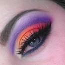 Purple, red, orange cut crease