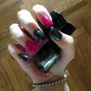 Black fushia nails