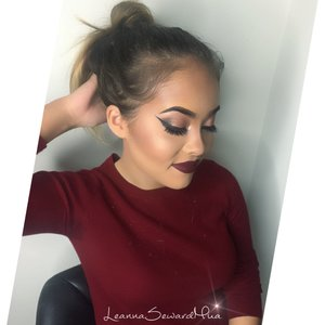 "She wears this look so well! Dark lips look GORGEOUS on her and they are in trend!! 😍She is Flawless! 💋GET THE LOOK!!!#LeannaSewardMua   Eyes: Urban Decay Naked 2 Palette , MakeupGeek eyeshadows in Cocoa Bear,Mocha and Frappé  Highlight/Blush: Gerardcosmetics highlighter in Audrey, MAC blushes in Peaches and mineralize blush in Love Joy.  Lips: My FAVORITE LIPSTICK!! 💄Colourpopcosmetics Ultra Matte Lipstick in ""Lax"""