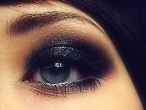 Using Lancôme eye shadows in The New Black & Makeover (on bottom edge) on top of NYX Jumbo Pencil in Black Bean