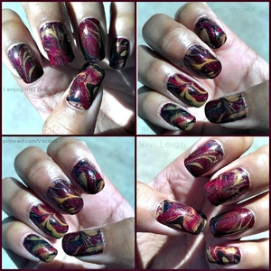 Fall themed water marble design.