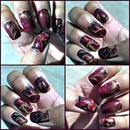 Fall themed water marble design