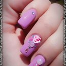 3D Pink Rose Bling Purple Nails