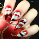 Candy cane style holiday nails