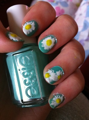 Turquoise and Caicos nail polish from Essie. I was inspired by a picture on tumblr, it was lovely! :D If I had the picture I would link it or something but I don't :(