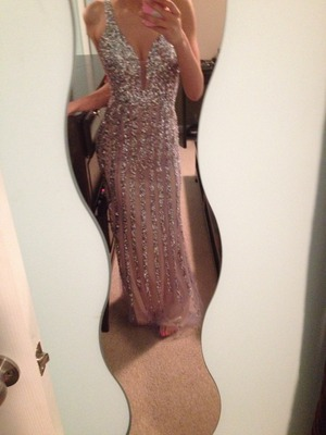 Silver/lilac gown. All the sequins and stones make it weigh about 20 pounds, but I love it.