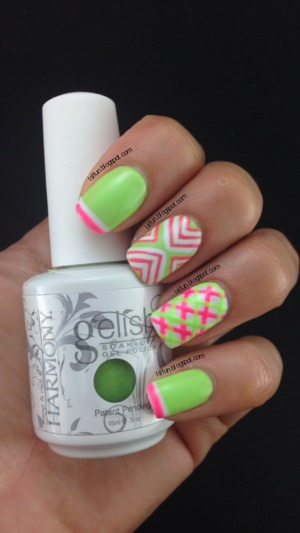 Plaid Nail Design Using Gelish Colors Of Paradise Collection