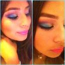 Rainbow eyes+ hot pink lips