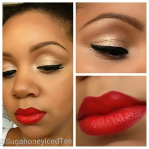 neutral eye with gold shimmer & red lip