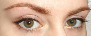 Neutral eye  with a winged eyeliner and a little gold