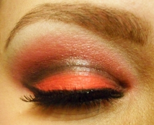 black and red closed eye