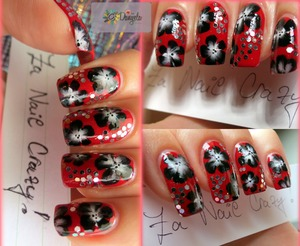 Used: Rimmel 60 seconds - Stand to attention #318, white & black acrylic paint, nail art brush for one stroke, silver glitter