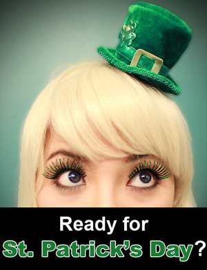 Wearing Elegant Lashes C966 Carnival Color Lash. Read full lash review here!:  http://falseeyelashessite.com/blog/2012/03/08/green-false-eyelashes-for-st-patrick%e2%80%99s-day/