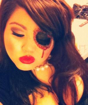 """Beauty is in the EYE of the beholder"" Missing eye halloween makeup, liquid latex"