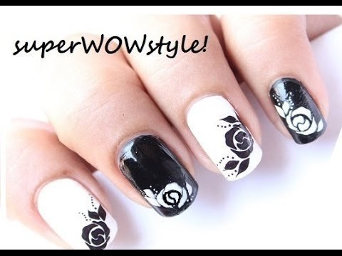 Rose nail designs water decals black and white easy nail art tutorial