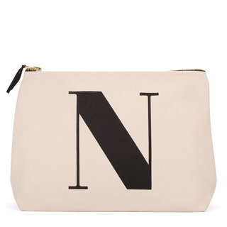Natural Wash Bag Letter N