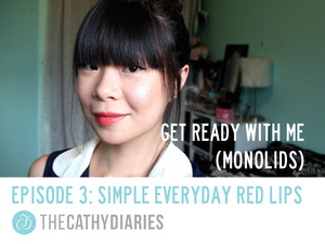 Hello, my friends! Today at The Cathy Diaries, we're talking about RED LIPS. Red lips can be a little bit intimidating in some cultures and countries because it symbolizes SEDUCTION and SEXUALITY.  For example, every time my best friend puts on a red lipstick, her aunt would ask her to wipe it off her lips because she thinks it's too sexy. But, red also means LOVE, PASSION, and HAPPINESS. So, in this video, I'm going to show you that you CAN wear red lips on a CASUAL occasion. What's wrong with embracing your happiness with a little red, right? :)  Also, I would like to dedicate this video to my best friend all the way back in Indonesia, Melysa W. She is the one who inspires me to make this video so thank you for all the love and support! Can't wait to see you again! XOXO  P.S. I still can't believe I showed my BARE face to the whole wide world but hey, I'm just keeping it real here. Nobody's perfect! ;)  P.S.S. I hope this video inspires you to be more daring with your makeup. Express yourself!  WHY I PUT THE LIPSTICK FIRST? Because If you put on your eye makeup or blush first, you could go a little overboard because you're trying to put color on your face. With the lipstick on, the color is already there, so you just need to add some finishing touches. When wearing red lipstick, especially for a CASUAL occasion, I try to keep the rest of the face as SIMPLE as possible.  If you DO this look, PLEASE do one of the following: - tag me on Instagram @TheCathyDiaries http://bit.ly/YAXK10 or - use the hashtag #TheCathyDiaries or - post it on my FB page here: http://on.fb.me/XESme4 I REALLY want to see it! ;)   PRODUCTS USED: - Hourglass Veil Mineral Primer - Revlon ColorStay Foundation for Combination/Oily Skin in 220 Natural Beige - Kevyn Aucoin Sensual Skin Enhancer in SX 05 - Estee Lauder Double Wear Maximum Cover in 03 Cream Vanilla - Urban Decay Razor Sharp Ultra Definition Finishing Powder - Lancome Color Design Lipstick in Scarlet Blaze (Holiday 2012 Edition) - NYX