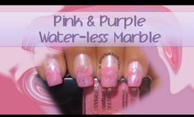 Pink and Purple Waterless Marble Nail Art Tutorial