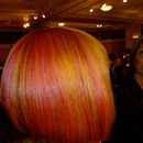 Orange, yellow, pink competition hair!