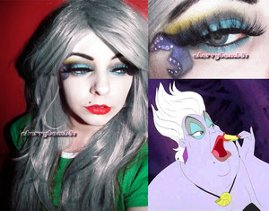 A makeup look inspired by Ursula Disney Villain from little mermaid.