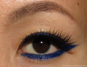 A winged liner look using Makeup Geek Electric Gel Liner, Sugarpill Royal Sugar and Saint Eyelashes. http://www.portraitofmai.com/2013/01/electric-royal-blue-liner-eotd.html