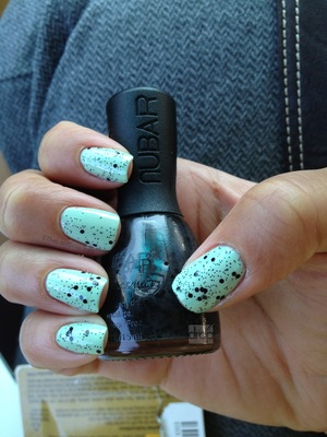 "A little mint n chip using NuBar's Polka Dot layored over Revlon's ""Mint"" 