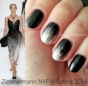 List of products and tools used can be found on my blog: http://www.beautybykrystal.com/2013/09/nyfw-inspired-nails-zimmermann-spring.html