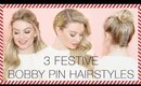 3 Festive Bobby Pin Hairstyles with Hair Extensions l Milk + Blush