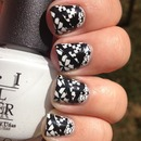 Black and White Tri-Print Nails