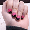Zig Zag Black And Pink Coral