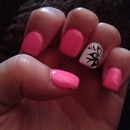 Pink and white decal flower nails