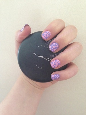 Cute polka dot pink and lilac nails, mac studio fix