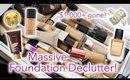 MASSIVE FOUNDATION MAKEUP DECLUTTER! $1000+ GONE *DECLUTTER WEEK* | queencarlene
