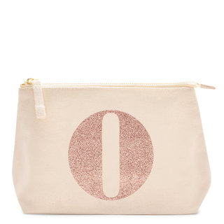 Rose Gold Glitter Initial Makeup Bag Letter O