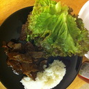 Bulgogi (Korean beef), red leaf lettuce and rice