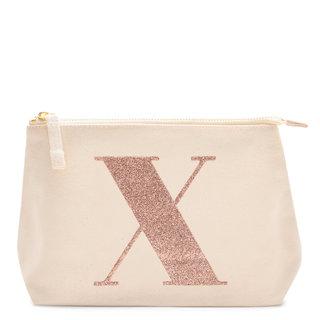 Rose Gold Glitter Initial Makeup Bag Letter X