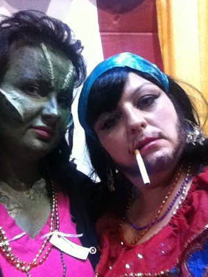 lizard lady and bearded lady