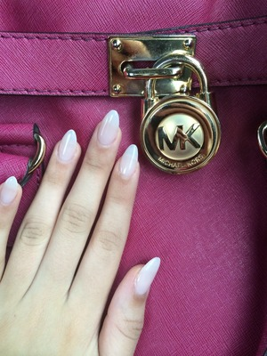 I LOVE stiletto nails! These are gel extensions polished with the color Bubble Bath by OPI.