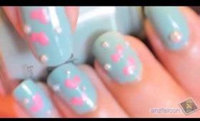 Heart and pearls kawaii nail tutorial