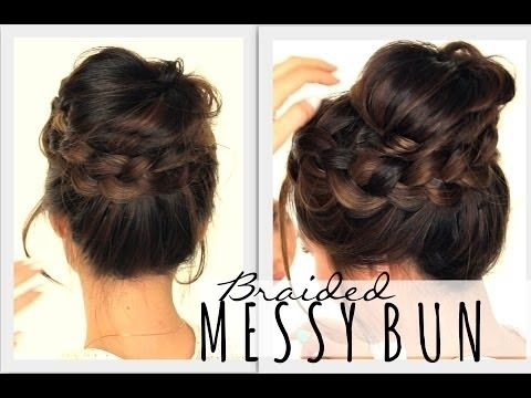 ★2nd Day Hairstyles Messy Bun Crown Braid Hair