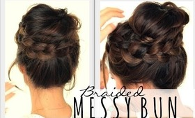 ★2ND-DAY HAIRSTYLES | MESSY BUN Crown BRAID  | HAIR TUTORIAL