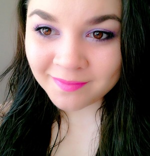 Urban Decay Naked Skin Foundation in 3 Essence 3D Eyeshadow in Irresistible Purr-ple Stila Color Balm Lipstick in Betsey http://www.beautybykrystal.com/2013/04/fotd-with-essence-stila-and-urban-decay.html