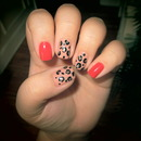 Red and Leopard Print Nails