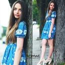 Flower Printed Puff Sleeves Denim Blue Dress