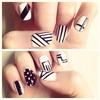Black and white geometric print nails