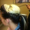 braided up ponytail
