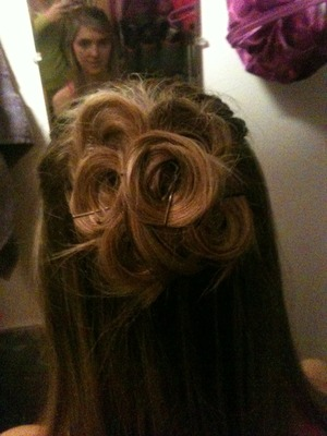 Close up of hair for a sorority formal