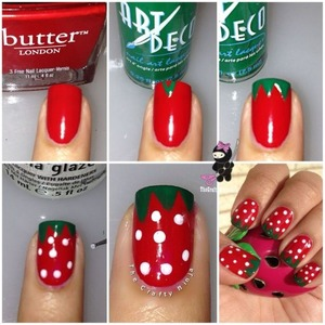 Yummy strawberry nails on the blog today! www.TheCraftyNinja.com
