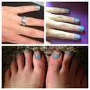 blue springy nails to go with my ring
